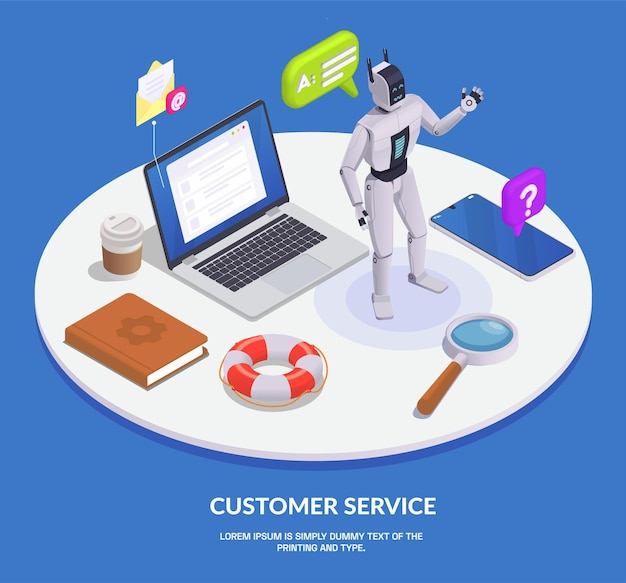 Colored isometric customer service composition with service elements and call center tools