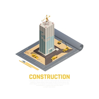 Colored and isometric icon construction banner with 3d plan of construction of building vector illustration