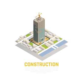 Colored isometric icon construction composition with construction of tower in the city center vector illustration