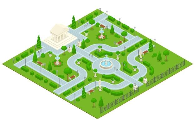 건축 건물이 있는 작은 공원이 있는 컬러 아이소메트릭 조경 디자인 공원 구성
