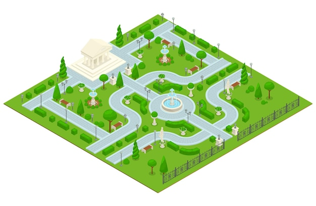 Colored isometric landscape design park composition with a small park with an architectural building