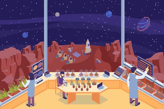 실험실 그림에서 세 과학자와 컬러 아이소 메트릭 화성 식민지 실험실 조성