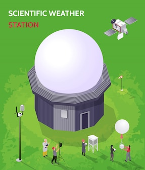 Colored isometric meteorological weather center composition with scientific weather station description