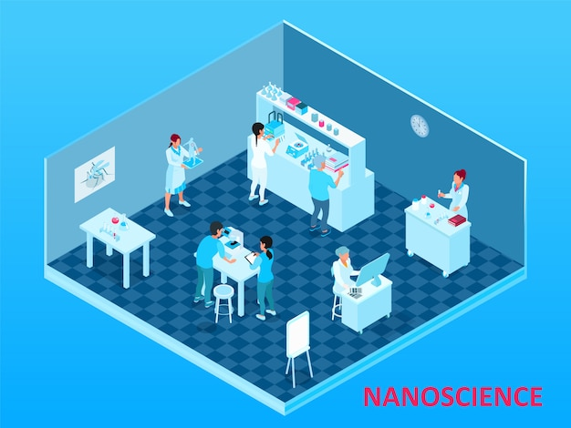 Colored isometric nanotechnology composition with isolated laboratory room with scientists and equipment