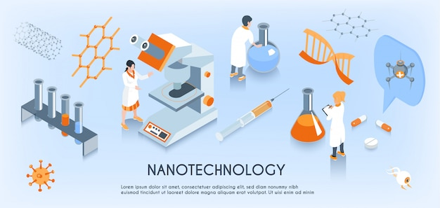 Colored isometric nanotechnology horizontal composition with scientist work in the laboratory