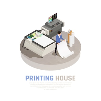 Colored and isometric printing house polygraphy composition with employer of polygraphy office vector illustration
