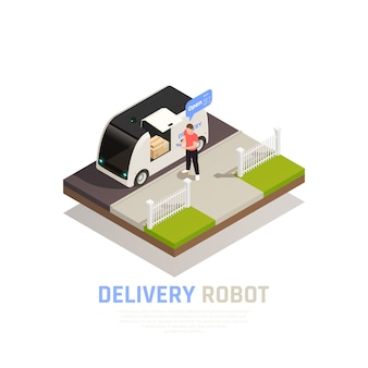 Colored and isometric smart city composition banner with delivery robot headline and food trailer vector illustration