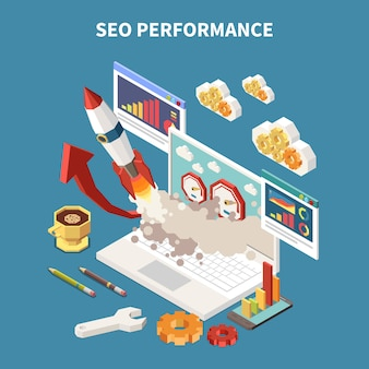 Colored and isometric web seo composition with different abstract elements in notebook  illustration