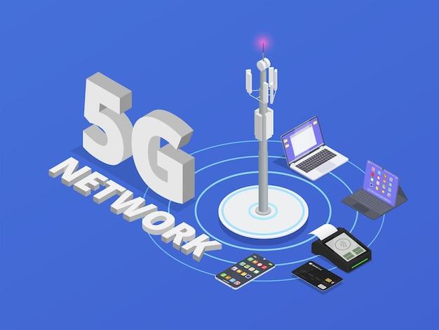 Composizione isometrica di tecnologie wireless colorate e isometriche con descrizione della rete di cinque g