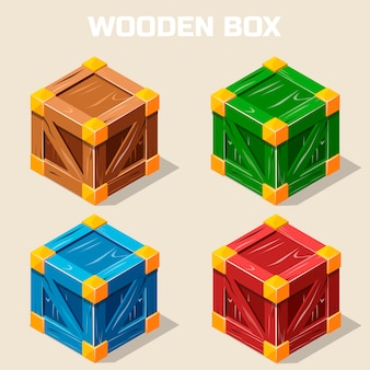 Colored isometric wooden box