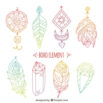 Colored items in boho style
