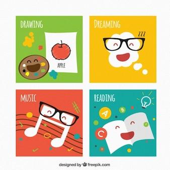 Etichette istruzione bambino colorate