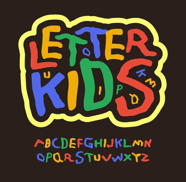 Colored kids letters education abc childrens font multicolor alphabet for funny logo birthday art