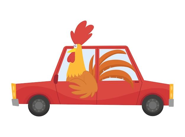 Цветной детский транспорт с милым маленьким петухом или плакатом. автомобиль за рулем.