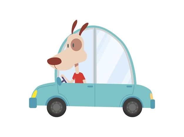 着色された子供たちはかわいい犬と一緒に輸送します。