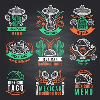 Colored labels of mexican symbols on black chalkboard. vector emblems with place for your text