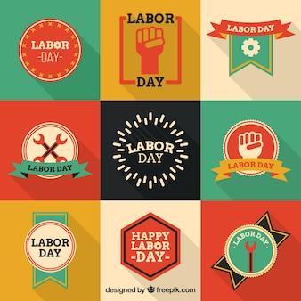 Colored labor day stickers