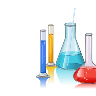 Colored laboratory flasks glassware
