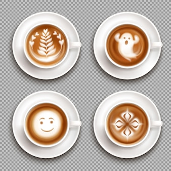 Colored latte art top view icon set with art in mugs and transparent  illustration