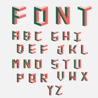 Colored letters in the style. set of  letters constructed on the basis of the isometric view.