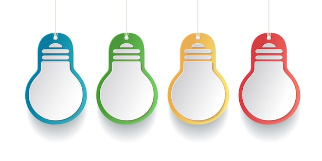 Colored light bulb tags in paper style on white background.