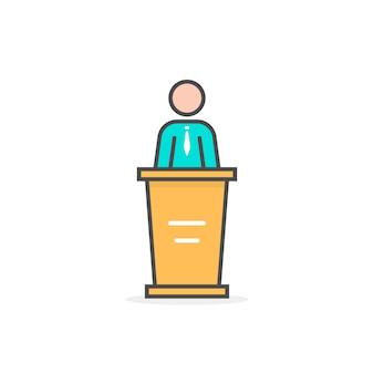 컬러 선형 대변인 아이콘입니다. 마스터 클래스, 투표, 회의, 강사, 받침대, 내레이터, 멘토, 발표의 개념. 흰색 배경에 플랫 스타일 트렌드 현대 로고 디자인 벡터 일러스트 레이 션