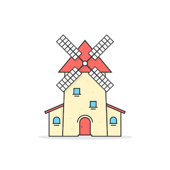 Colored linear windmill icon. concept of traditional bakehouse, netherlands mark, factory, spin, farmland tourism, crop. flat style trend modern logo design vector illustration on white background