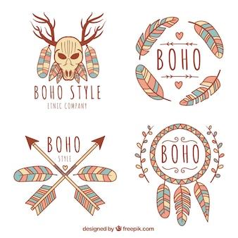 Цветные логотипы в стиле богемного