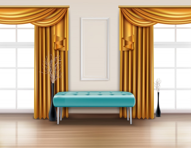 Цветные роскошные шторы реалистичный интерьер с золотым занавесом и голубой мягкой скамейке иллюстрации