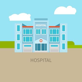 Colored medical hospital building