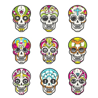 Colored mexican skull set