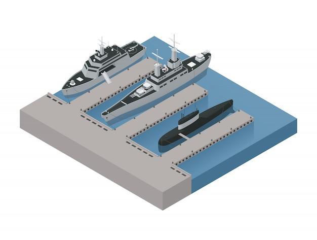 La composizione isometrica 3d nelle barche militari colorate con le navi ha attraccato vicino all'illustrazione di vettore della riva