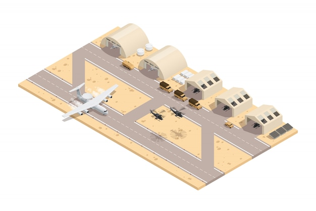 Colored military isometric composition in beige colors