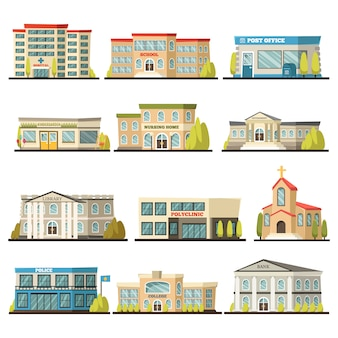 Colored municipal buildings icon set