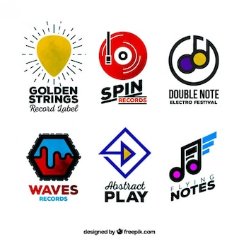Colored music logos collection