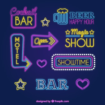 Colored neon light signs for establishments