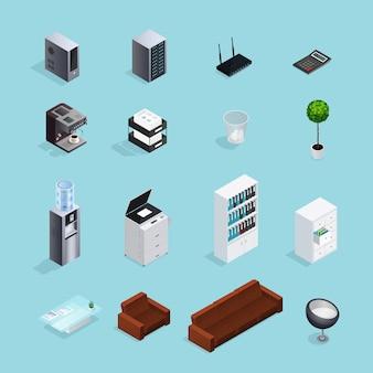 Set di icone isometriche di forniture per ufficio colorate