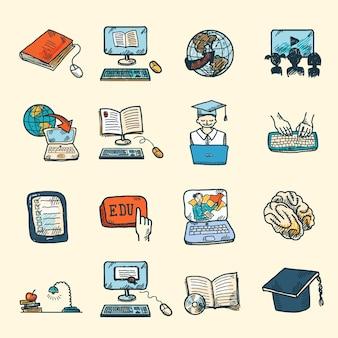 Colorato diploma di istruzione online e e-learning icone schizzo insieme isolato illustrazione vettoriale