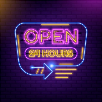 Colored open 24 hours neon sign