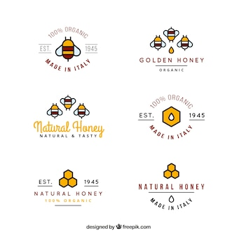 Colored organic honey logotypes in linear style