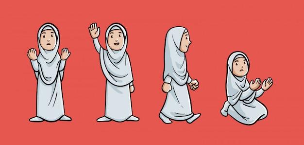イフラムを身に着けているイスラム教徒の女性キャラクターの色付きのアウトライン漫画イラスト