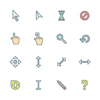 Colored outline various cursors icons set