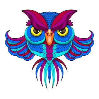 Colored owl - vector illustration.