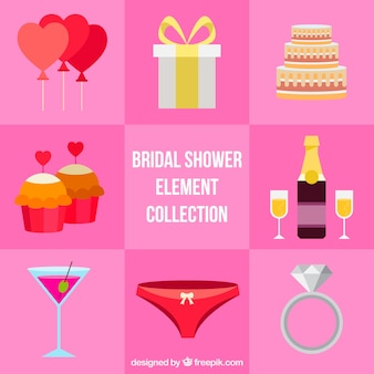 Colored pack of fantastic bridal shower items in flat design