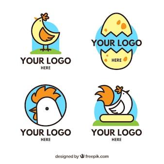 평면 디자인의 치킨 로고 컬러 팩