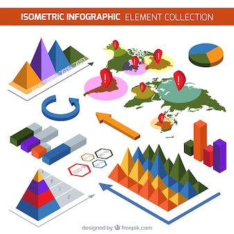 Colored pack of isometric infographic elements