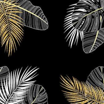 色付きのヤシの葉のベクトルの背景図。 eps10