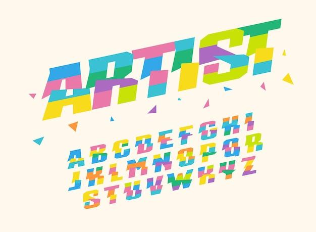 색종이 삼각형 및 줄무늬 벡터 알파벳입니다. 휴일, 기념일, 생일 또는 예술 축제 및 이벤트를 장식하기 위한 밝고 다채롭고 유치한 글꼴입니다.