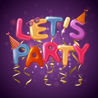 Colored party balloon letters background with let s play headline on purple fond