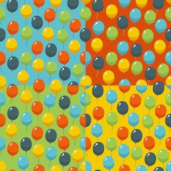 色のパーティー風船パターン。誕生日、結婚式、記念日、記念日、やりがいのある招待状。シームレスな背景。